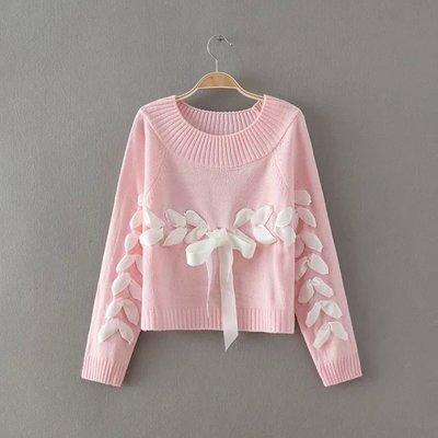 Lovelace Knit Ribbon Sweater