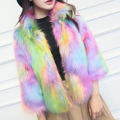 Candy Rainbow Cozy Collar Jacket