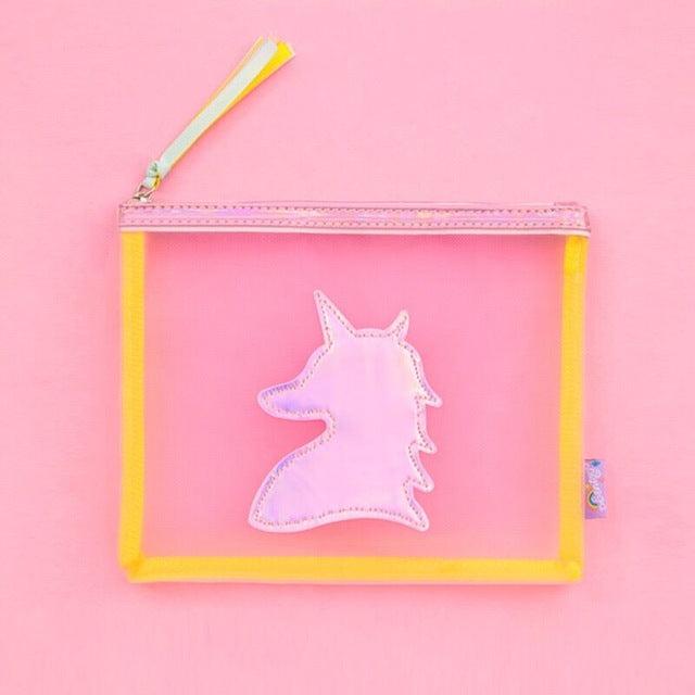 Holographic Unicorn Clear Pouch