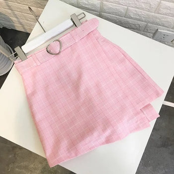 Georgia Plaid Belted Mini Skirt