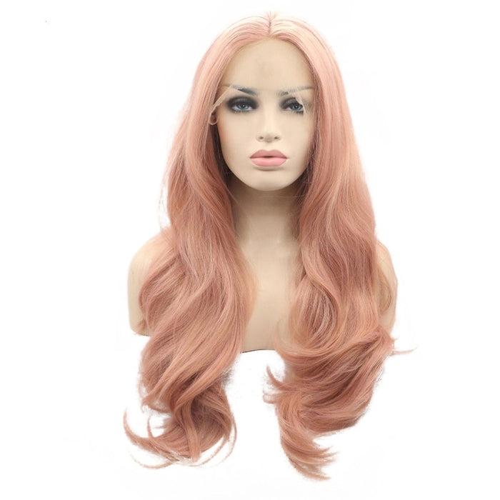 Peachy Rose Gold Blonde Wavy Long Lace Front Wig