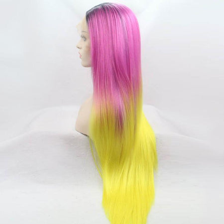 Purple to Yellow Ombré Long Lace Front Wig