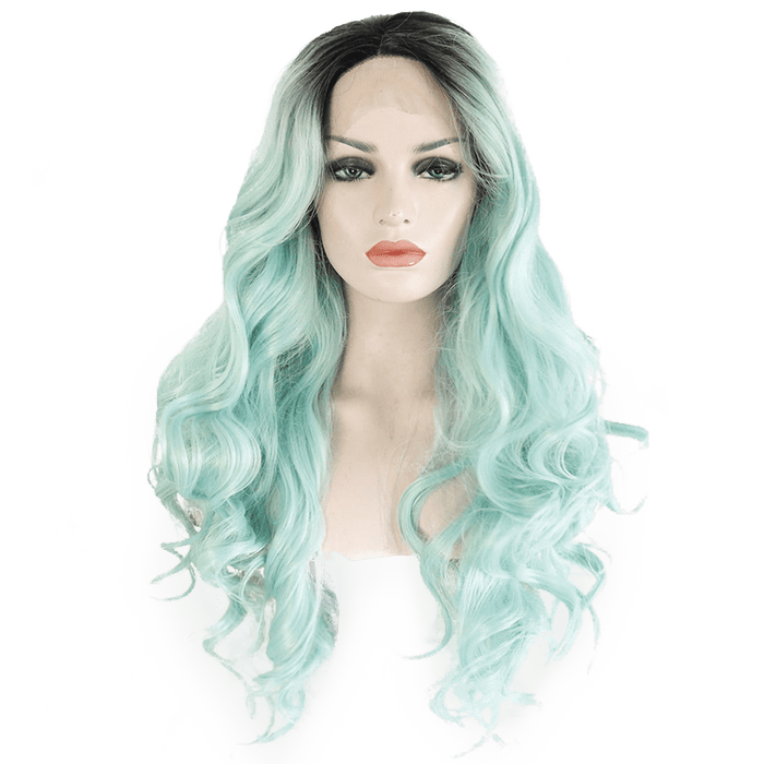 Mint Green Wavy Long Lace Front Wig