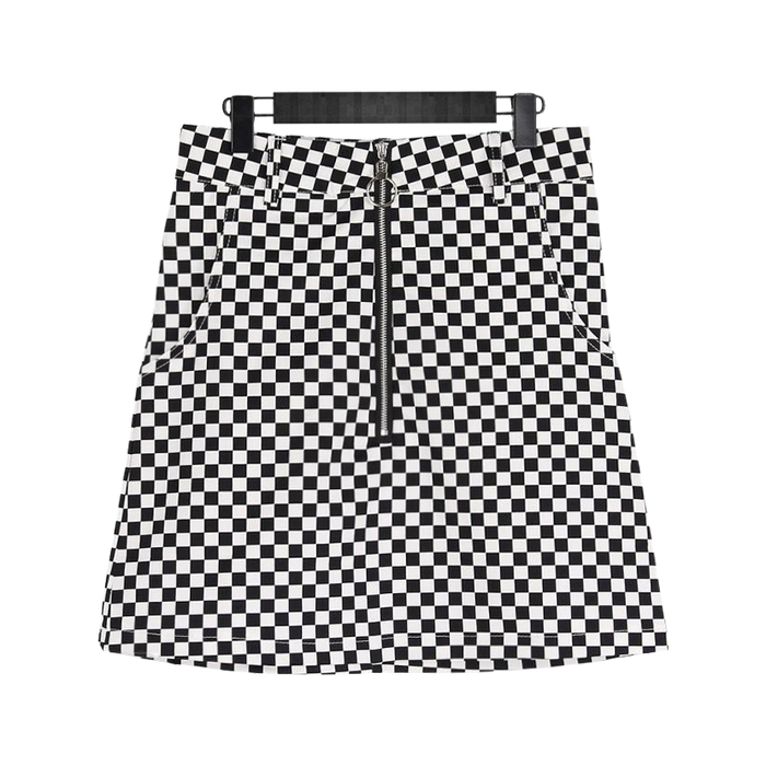 Rock Steady Checkered Mini Skirt