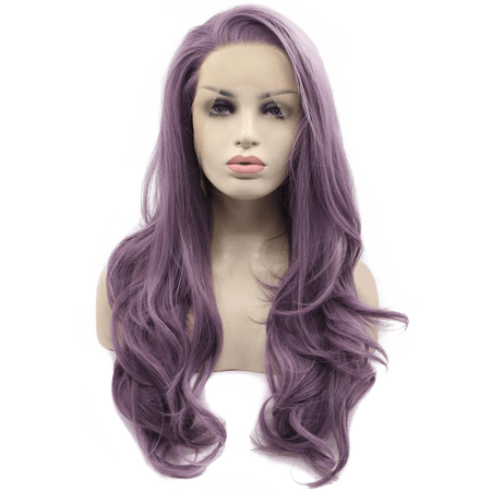 Dusty Violet Wavy Long Lace Front Wig