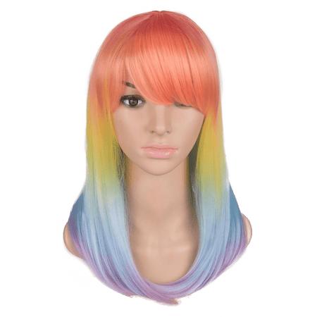 Peach Rainbow Ombré Medium Straight Wig