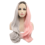 Pink & Grey Split Long Lace Front Wig