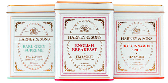 Harney and Sons Classic Collection consists of elegant tins filled with 20 sachets of high quality tea blends