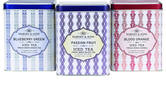Harney and Sons Fresh Brew Iced Tea tins of 6 pouches