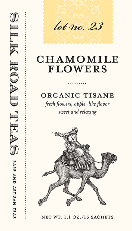 Silk Road Teas, Chamomile Flowers, organic tisane. Fresh flowers, apple like flavor, sweet and relaxing. Box of 15 sachets