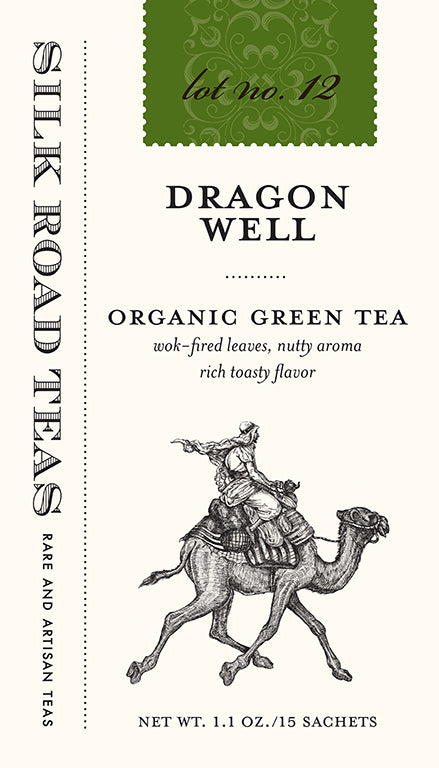 Silk Road Teas Dragon Well, organic green tea. Wok-fired leaves, nutty aroma with rich toasty flavor. Box of 15 sachets.