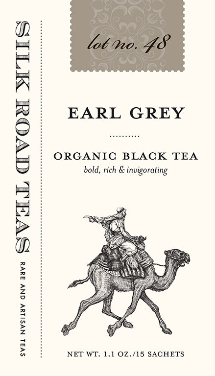 Silk Road Teas Earl Grey, organic black tea. Bold, rich and invigorating. Box of 15 sachets.