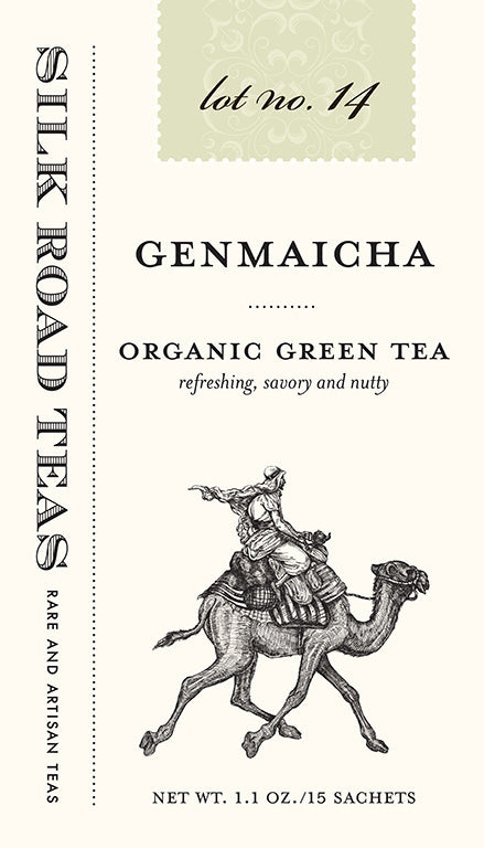 Silk Road Teas Genmaicha, organic green tea. Refreshing, savory and nutty. Box of 15 sachets.