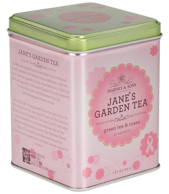 Jane's Garden Tea, Green tea and roses, tin of 20 sachets, Harney & Sons at Sip Sense