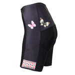 Womens Bike Shorts with 3D Gel Padded,Cycling Women's Shorts (Butterfly  FLOWER) 548