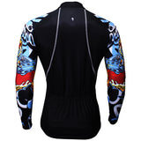 Aggressive Dragon Cool Graphic Blue Arm Print Men's Cycling Long-sleeve Black Jerseys NO.373 -  Cycling Apparel, Cycling Accessories | BestForCycling.com