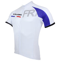 Ilpaladino France Simple White Men's Breathable Quick Dry Short-Sleeve Cycling Jersey Bicycling Shirts Summer Apparel Outdoor Sports Gear Upper Wear NO.050 -  Cycling Apparel, Cycling Accessories | BestForCycling.com