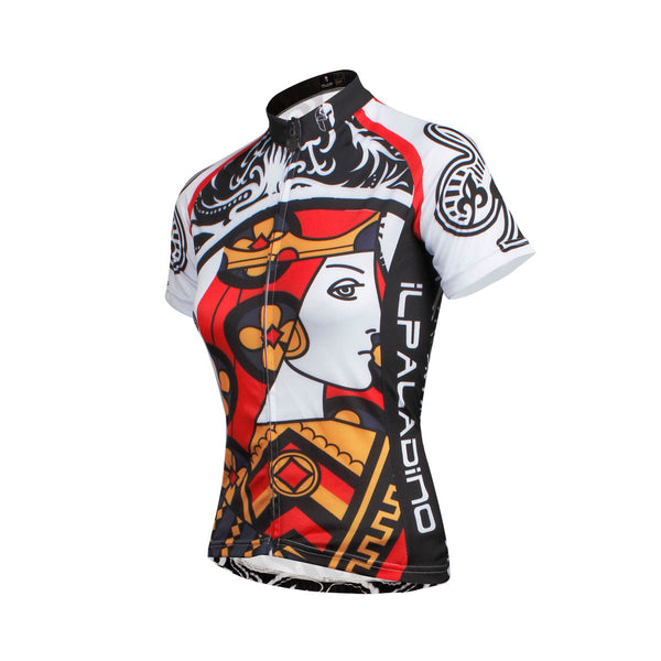 ab3161ef758f ... ILPALADINO Playing Cards Poker Face Clubs Queen Women s Long Sleeves  Cycling Suit Jerseys Bike Shirt Outdoor ...