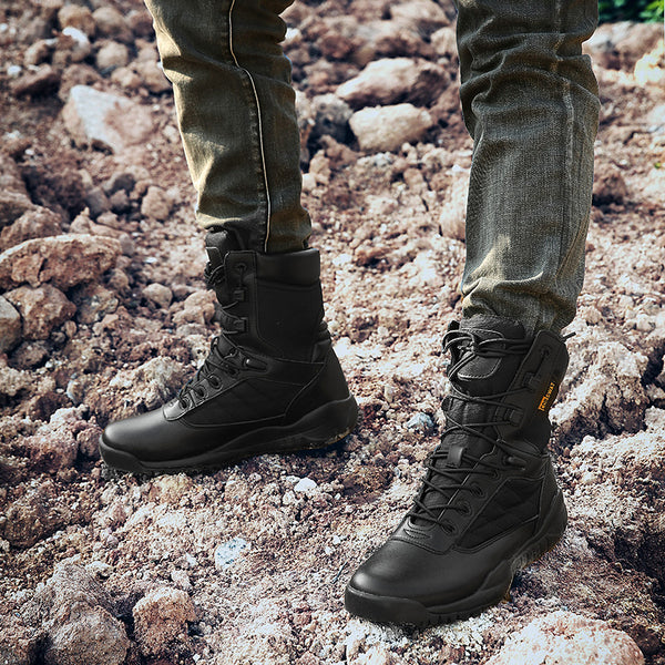 Mens Outdoor High Desert Boots Military Army Style Leather Tactics Waders Climbing Hiking Breathable Wear-resistant Black NO.31005