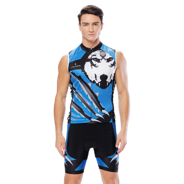 Wolverine Wolf Blue Men's Cycling Sleeveless Bike Jersey/Kit T-shirt Summer Spring Road Bike Wear Mountain Bike MTB Clothes Sports Apparel Top / Suit NO.811
