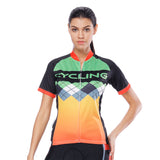 Orange Green Splicing Women's Cycling Short-sleeve Bike Jersey/Kit T-shirt Summer Spring Road Bike Wear Mountain Bike MTB Clothes Sports Apparel Top / Suit NO. 787