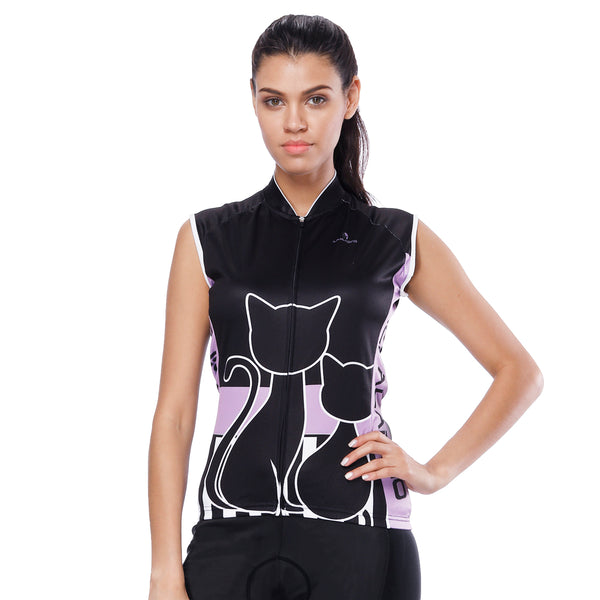 Black Cats Kitty Purple-side Women's Cycling Sleeveless Bike Jersey T-shirt Summer Spring Road Bike Wear Mountain Bike MTB Clothes Sports Apparel Top NO. 799 -  Cycling Apparel, Cycling Accessories | BestForCycling.com