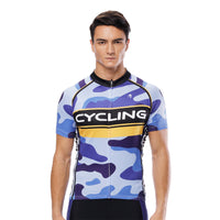 Yellow-strip Blue Camo Cycling Short-sleeve Jersey/Suit Exercise Bicycling Pro Cycle Clothing Racing Apparel Outdoor Sports Leisure Biking Shirts Team Summer Kit NO.816