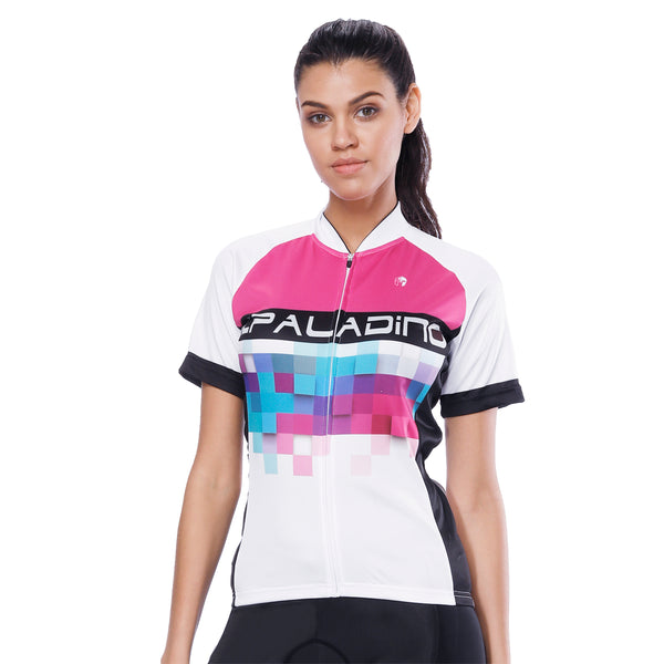 Pink Blue Mosaic Women's Cycling Short-sleeve Bike Jersey T-shirt Summer Spring Road Bike Wear Mountain Bike MTB Clothes Sports Apparel Top NO. 788