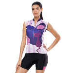 Night Cat Heart Window Purple Women's Cycling Sleeveless Bike Jersey/Kit T-shirt Summer Spring Road Bike Wear Mountain Bike MTB Clothes Sports Apparel Top / Suit/ Shorts NO.808