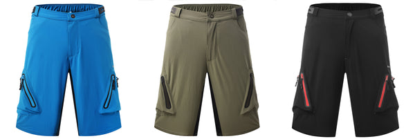 Mens Summer Quick Dry Breathable Outdoor Sports MTB Shorts Mountain Bike Biking Pants with Zip Pockets  black/blue/olive #1202B