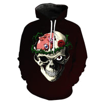 Cunning Skull With Rose Black Hoodies Long Sleeve Hooded Pullover with Pockets Spring Autumn NO.1238 -  Cycling Apparel, Cycling Accessories | BestForCycling.com