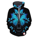 Blue Butterfly Skull Black Hoodies Sweatshirt Long Sleeve Hooded Pullover with Pockets Spring Autumn NO.1273 -  Cycling Apparel, Cycling Accessories | BestForCycling.com