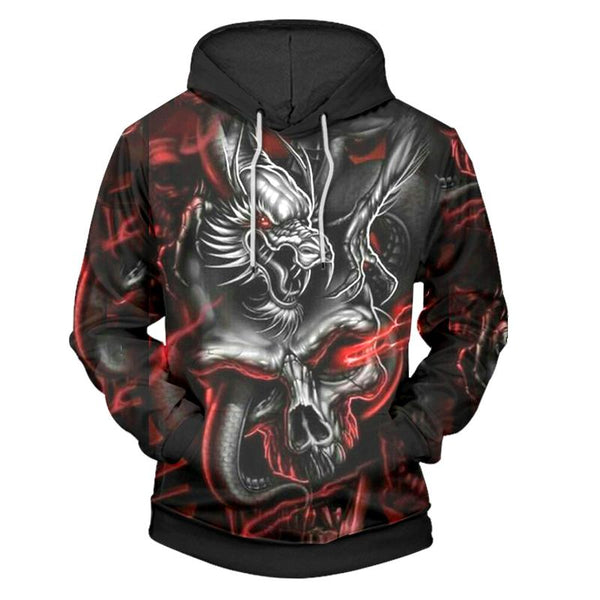 Evil Dragon Head Black Hoodies Sweatshirt Long Sleeve Hooded Pullover with Pockets Spring Autumn NO.1315 -  Cycling Apparel, Cycling Accessories | BestForCycling.com