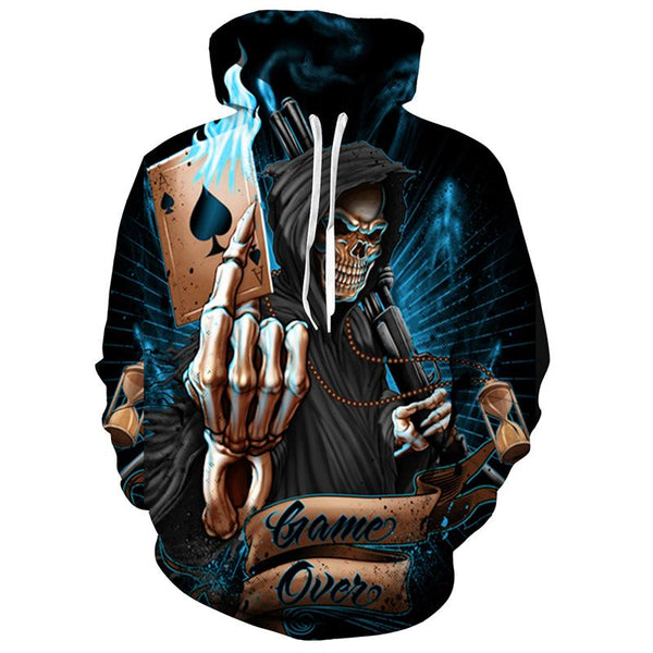 Poker Skull Black Hoodies Sweatshirt Long Sleeve Hooded Pullover with Pockets Spring Autumn NO.1317 -  Cycling Apparel, Cycling Accessories | BestForCycling.com