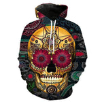 Flowers-deco Skull Black Hoodies Sweatshirt Long Sleeve Hooded Pullover with Pockets Spring Autumn NO.1322 -  Cycling Apparel, Cycling Accessories | BestForCycling.com