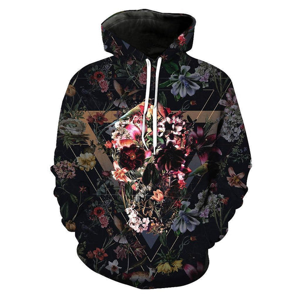 Flower Burial Skull Black Hoodies Sweatshirt Long Sleeve Hooded Pullover with Pockets Spring Autumn NO.1326 -  Cycling Apparel, Cycling Accessories | BestForCycling.com