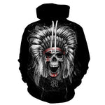 Indian Skull Black Hoodies Sweatshirt Long Sleeve Hooded Pullover with Pockets Spring Autumn NO.1328