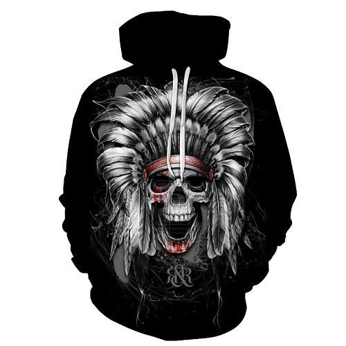 Indian Skull Black Hoodies Sweatshirt Long Sleeve Hooded Pullover with Pockets Spring Autumn NO.1328 -  Cycling Apparel, Cycling Accessories | BestForCycling.com