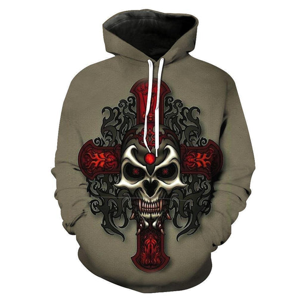 Skull Brown Hoodies Sweatshirt  Long Sleeve Hooded Pullover with Pockets Spring Autumn NO.1330 -  Cycling Apparel, Cycling Accessories | BestForCycling.com