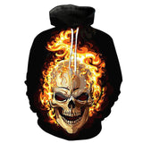 Fire Skull Black Hoodies Sweatshirt Long Sleeve Hooded Pullover with Pockets Spring Autumn NO.1332 -  Cycling Apparel, Cycling Accessories | BestForCycling.com