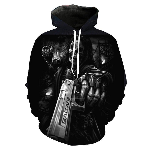 Guns Skull Black Hoodies Sweatshirt Long Sleeve Hooded Pullover with Pockets Spring Autumn NO.1334 -  Cycling Apparel, Cycling Accessories | BestForCycling.com
