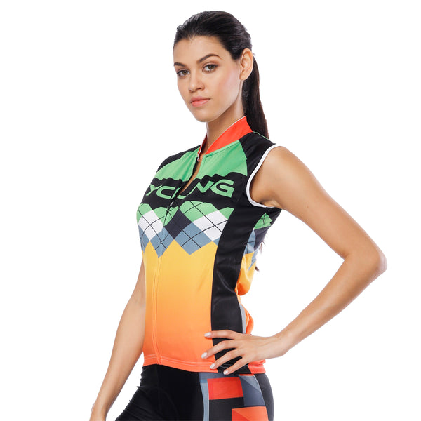 Orange Green Women's Cycling Sleeveless Bike Jersey T-shirt Summer Spring Road Bike Wear Mountain Bike MTB Clothes Sports Apparel Top NO. 787