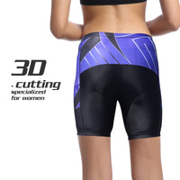 Blue Diagonals Black Womans Shorts UPF 50+ Spandex Yoga Tight Running Riding Gear Summer Fitness Wear Sports Clothes Hiking Courtgame Apparel Quick dry Breathable -With Pocket Design NO. 863 -  Cycling Apparel, Cycling Accessories | BestForCycling.com