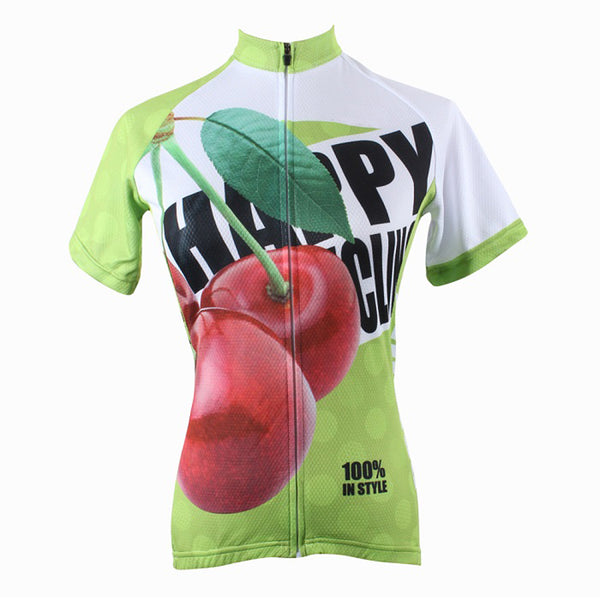 Happy Cycling Summer Fruit Cherry Woman's Short-Sleeve Cycling Jersey Suit Biking Wear Breathable Outdoor Sports Gear Leisure Biking T-shirt Sports Clothes NO.178 -  Cycling Apparel, Cycling Accessories | BestForCycling.com
