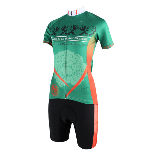 Ilpaladino Green Elegant Woman's Cycling short-sleeve Jersey/Suit Spring Summer Sportswear Apparel Outdoor Sports Gear NO.191