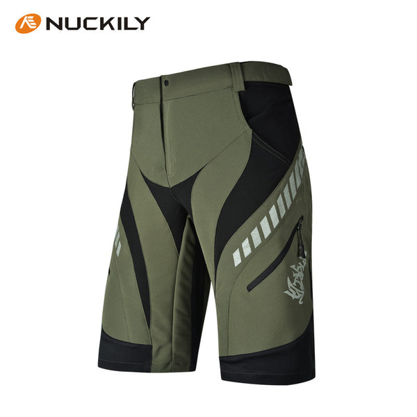 Olive/Black Summer Mens Cycling Shorts MTB Bike Bicycle Pants Breathable Quick Dry Reflective-trim Loose-Fit Baggy with Zip Pockets NO. MK001