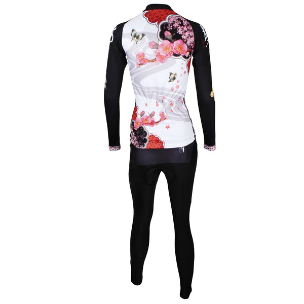 ILPALADINO Women's Long Sleeves Red Flower Cycling Apparel Outdoor Sports Gear Leisure Biking T-shirt Clothing Suits with Tights NO.542 -  Cycling Apparel, Cycling Accessories | BestForCycling.com