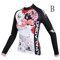 Ilpaladino Peach Blossom Butterfly With Flying Petal Women Cycling Jerseys Long-sleeve summer Spring Sportswear Gear Pro Cycle Clothing Racing Apparel Outdoor Sports Leisure Biking Shirt NO.542 -  Cycling Apparel, Cycling Accessories | BestForCycling.com