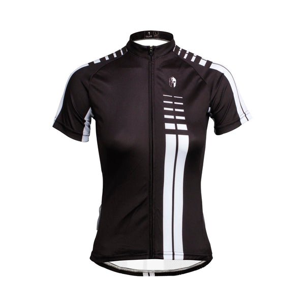 Woman White striped Black Cool Short/long-sleeve Cycling Jersey NO.646