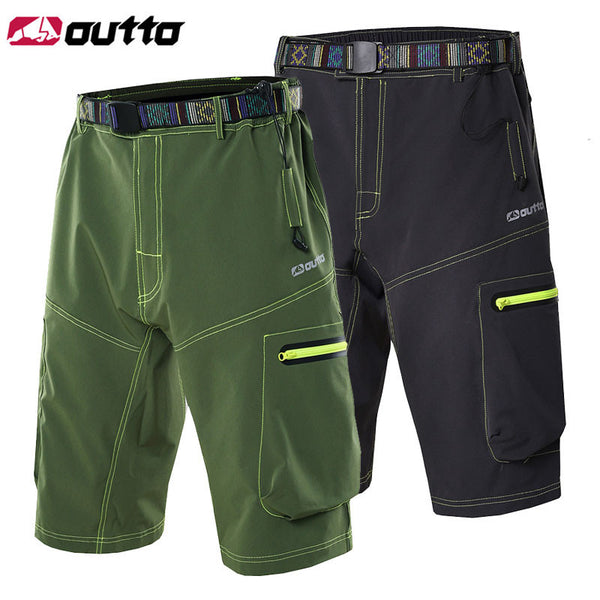 Mens Outdoor Cycling Shorts Outdoor Sports MTB Shorts Mountain Bike Biking Pants with Zip Pockets Grey/Green #1506